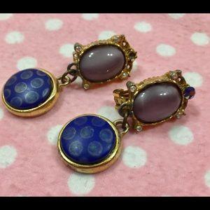"""Jewelry - Vtg faux """"opal"""" earrings geometric drop"""